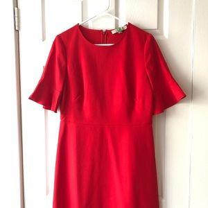 LOFT Short Sleeved Red Dress